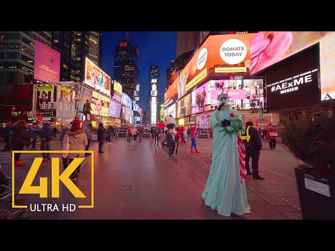 The Evening Streets of New York, USA 4K City Walking Tour with City Sounds