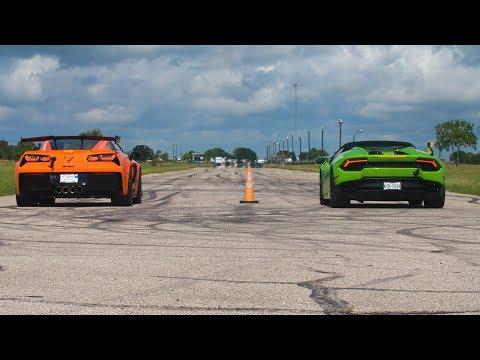 2019 Corvette ZR1 vs Lamborghini Huracan (Ooh-rah-khan) Drag Race