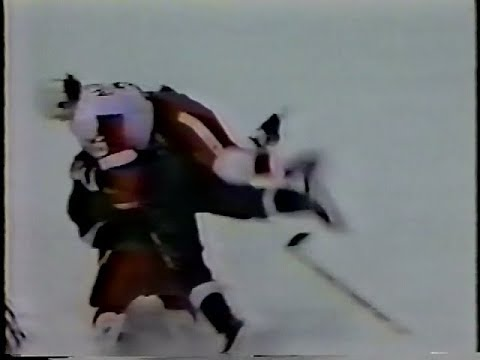 Shane Churla vs Terry Carkner / Darren McCarty & Stars vs Wings line brawl 1995