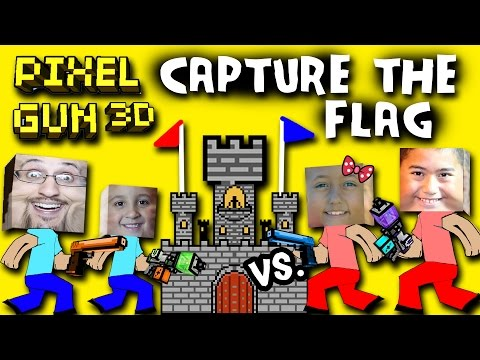 Pixel Gun Capture The Flag W/ Dad - Mike Vs. Lex - Ethan (Multiplayer Face Cam) TWO CASTLES