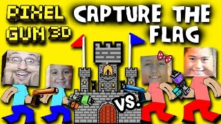 Pixel Gun Capture the Flag w/ Dad - Mike vs. Lex - Ethan (Multiplayer Face Cam) TWO CASTLES