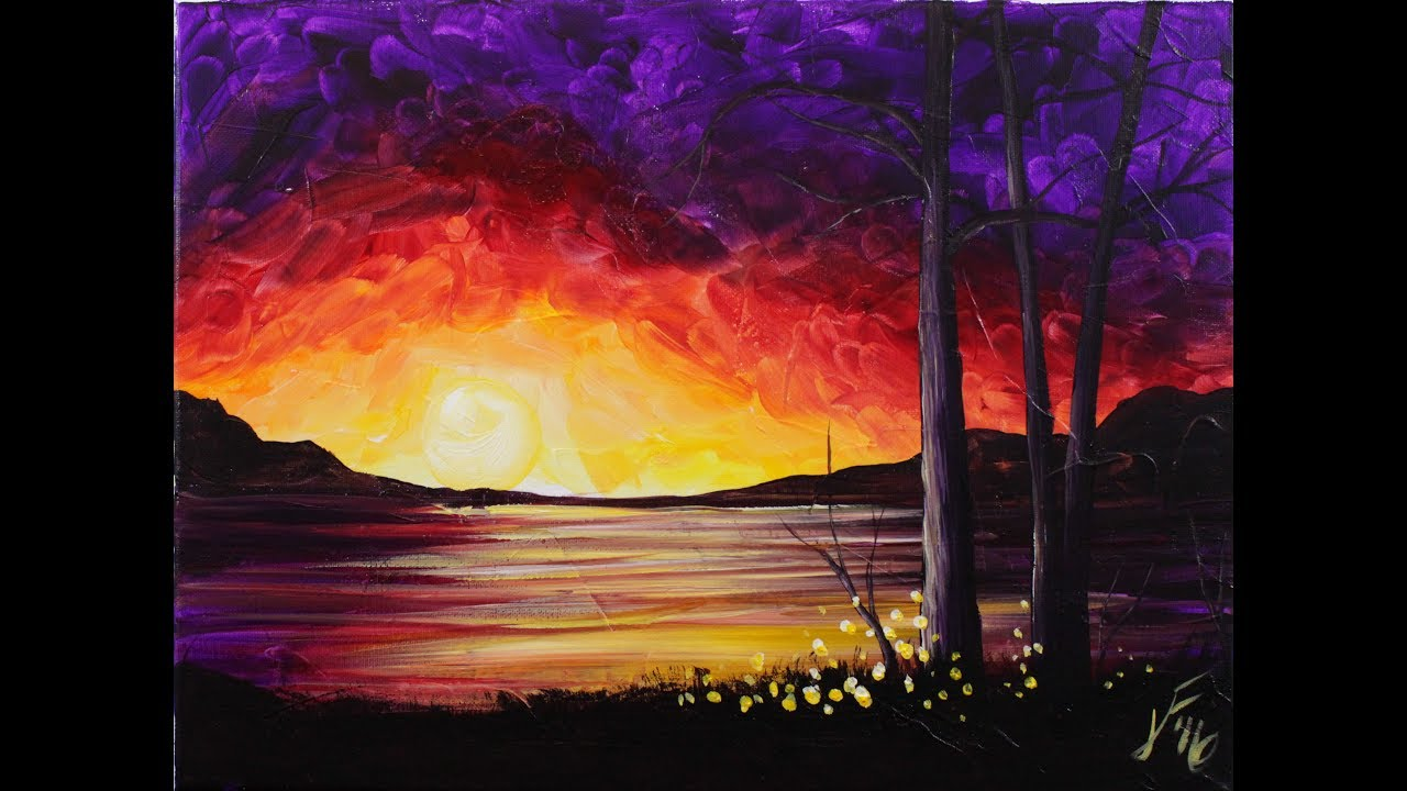 sunset at the lake step by step acrylic painting on canvas for