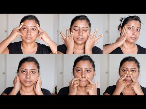 Antiaging Face Massage Techniques To Reduce Forehead wrinkles,Double Chin and Sugging Cheeks