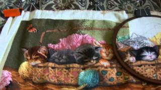 """Процесс вышивки """"Спящие котята """". """"Kitty Litter""""   Dimensions."""