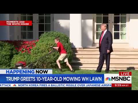 President Trump high-fives kid mowing the White House lawn