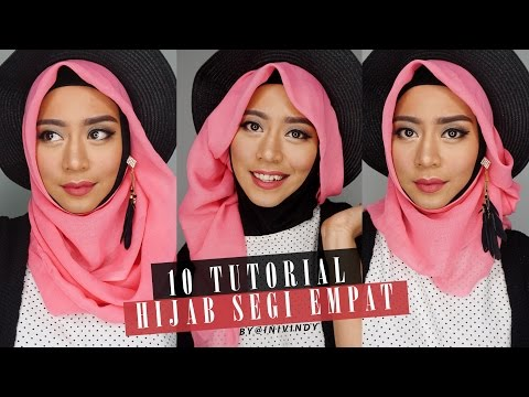 6 Tutorial Hijab Segi Empat Praktis Bahan Paris Baru