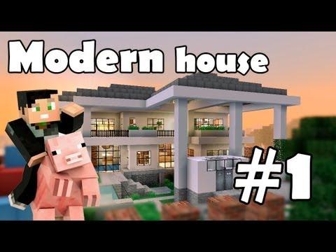 Minecraft строим красивый дом: Modern House (Выпуск 5 ч.1)