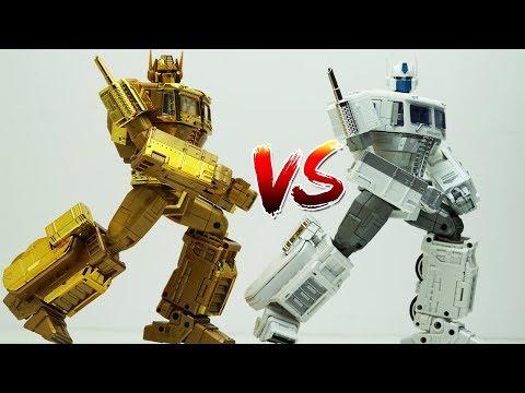 Transformers Stop motion - Optimus Prime vs Ultra Magnus Robot Dance MP-10 Convoy Golden Car Toys