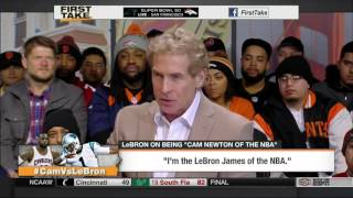 ESPN FIRST TAKE 2 4 2016   LEBRON JAMES SAYS HE IS A FAN OF PANTHERS QB CAM NEWTON
