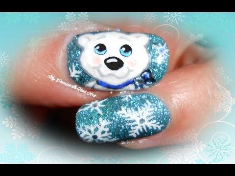 Sweet Xmas Polar Bear & Snowflakes nails - tutorial nail art orsetto polare x Natale