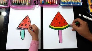 Dạy vẽ que kem Dưa hấu ♥ How to Draw a Watermelon Ice Cream ♥