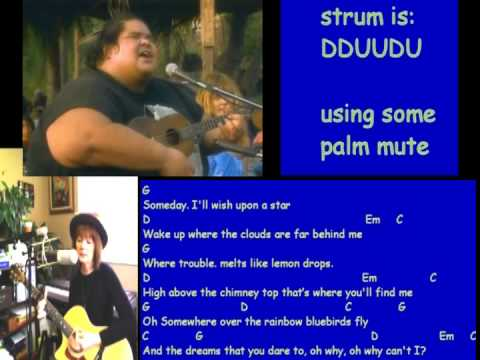 Somewhere Over The Rainbow, Israel Kamakawiwoʻole version, guitar ...