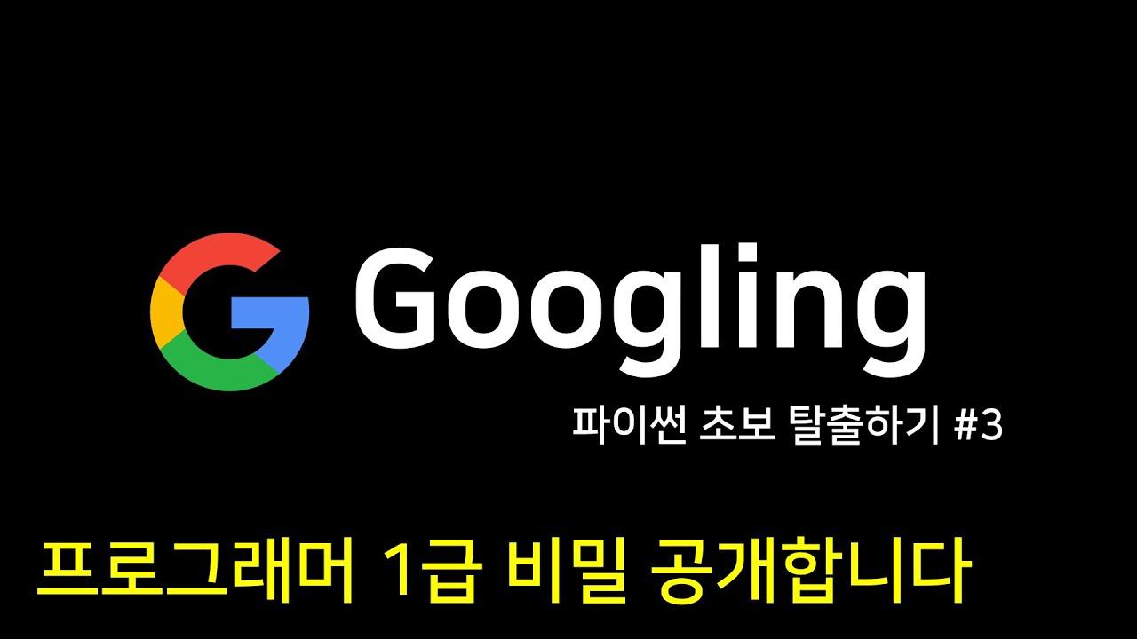 파이썬 초보 탈출하기 #3 | 구글링 Googling
