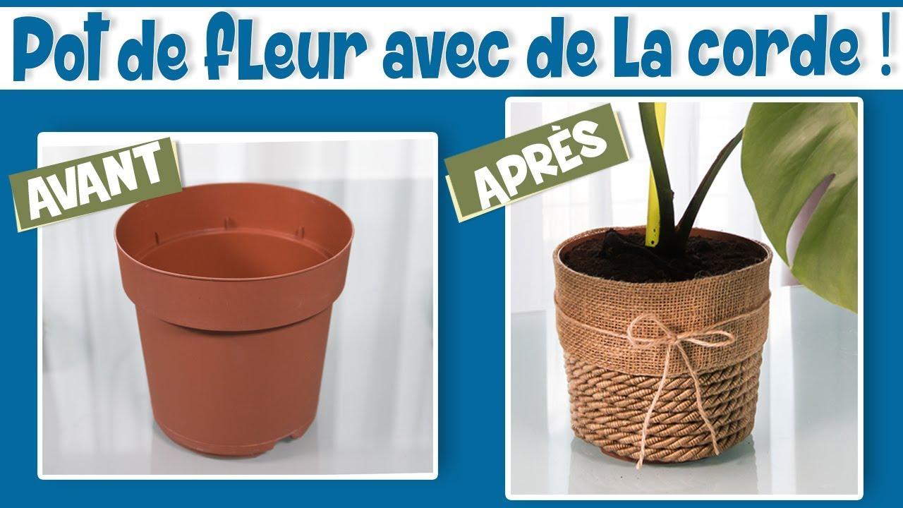 Gros Pot Fleur Plastique diy déco: pot de fleur avec de la corde !