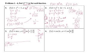 derivatives of inverse functions homework answers
