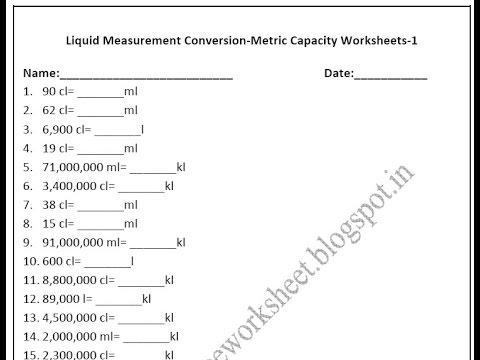 Grade 4 Metric Capacity Worksheets Liquid measurement conversion