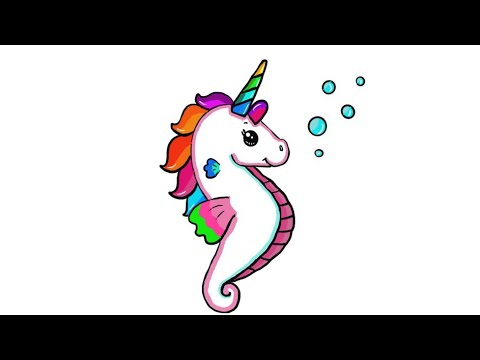 How to draw an Unicorn seahorse - YouTube
