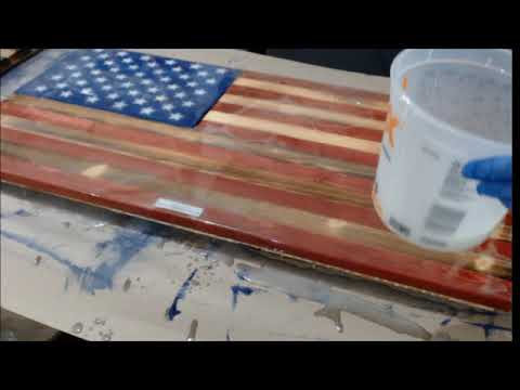 Rustic Traditional American Flag Being Coated In Epoxy