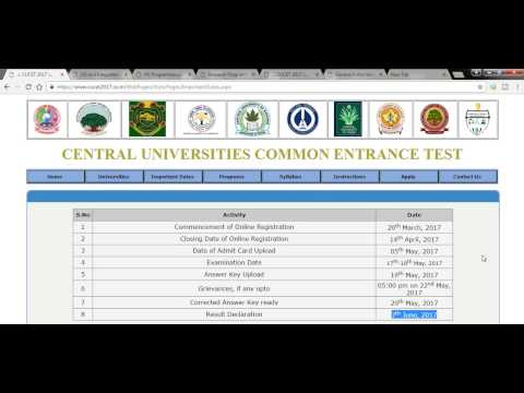 cucet 2017-18 || CENTRAL UNIVERSITIES COMMON ENTRANCE TEST हिंदी में