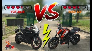 LE DUEL : YAMAHA YZF-R125 vs KTM DUKE 125 ! FIGHT 💥👊