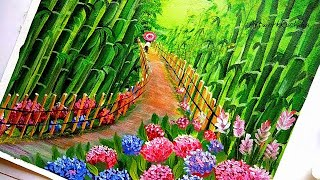 Painting Bamboo Park with Flowers | Flower Garden Painting | Beautiful Park Acrylic Painting