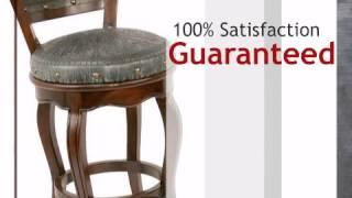 Spanish Heritage Turquoise Swivel Barstool With Back - Set Of 3 - Lonestarwesterndecor.com