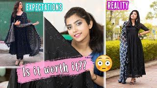 I Tried ALIA BHATT'S Black Anarkali Suit from ETHNICROOP | Is it Worth it? 🤔Shopping Suits Online