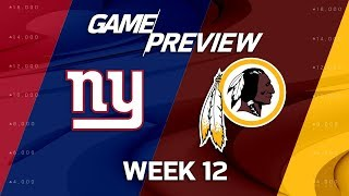 New York Giants vs. Washington Redskins | NFL Week 12 Game Preview | NFL Playbook