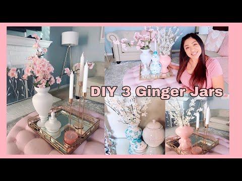 DIY 3 Jarrones Hazlos Tu Mismo- Ginger Jars / Ideas Para Decorar Con Poco Dinero