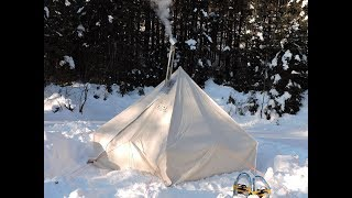 Winter Camping in a Canvas Tent with Woodstove in Québec