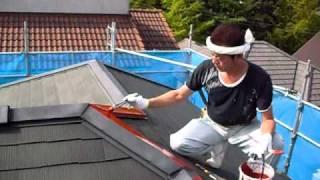 スレート屋根の棟板金さび止めと釘打ち thumbnail