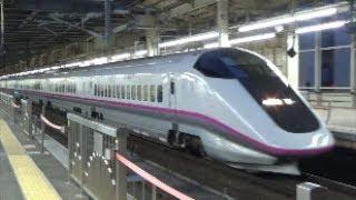 大宮駅を通過するE3系「秋田新幹線20周年記念号」と大宮駅を発着する東北・上越新幹線
