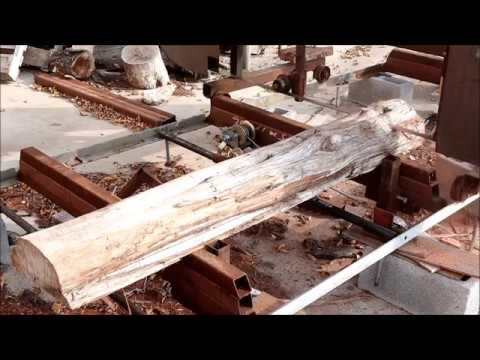 Cutting Cedar log Custom Slabs Homemade Sawmill