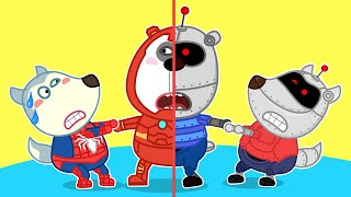 Wolf family   SUPERHERO-WOLFOO SAVES HIS FRIEND FROM BAD ROBOT COPY OF HIMSELF