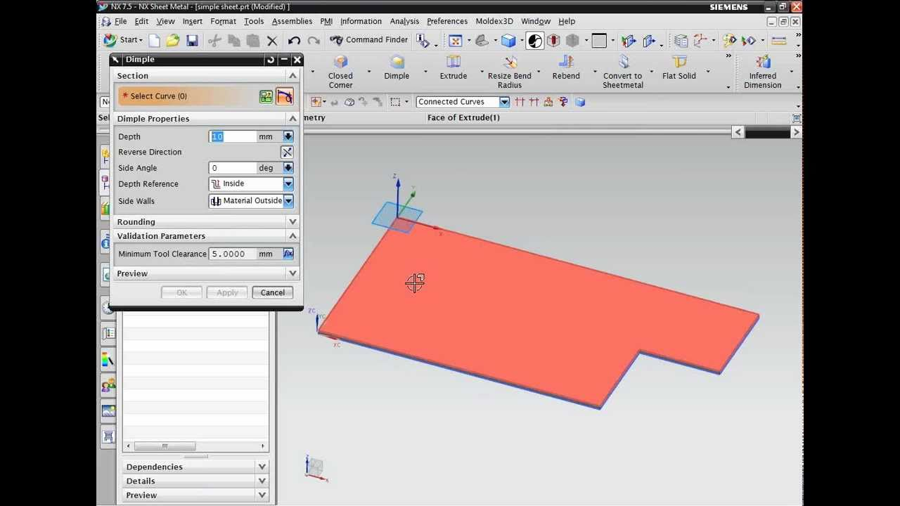 Nx cad introduction to sheet metal design youtube baditri Image collections