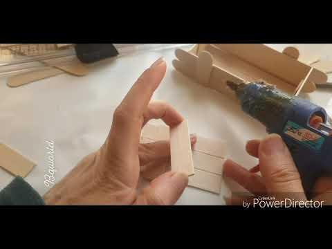Diy wooden box using ice cream sticks..عمل توزيعات من اعواد الايس كريم وكيس الارز.