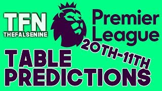 2017-18 Premier League Final Table Predictions | 11th to 20th - FalseNine Thinks