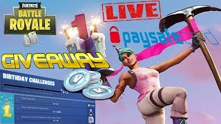 1er BIRTHDAY EVENT à FORTNITE/GIVEAWAY le 200 GRATES/WIN 1000 V-BUCKS 💲