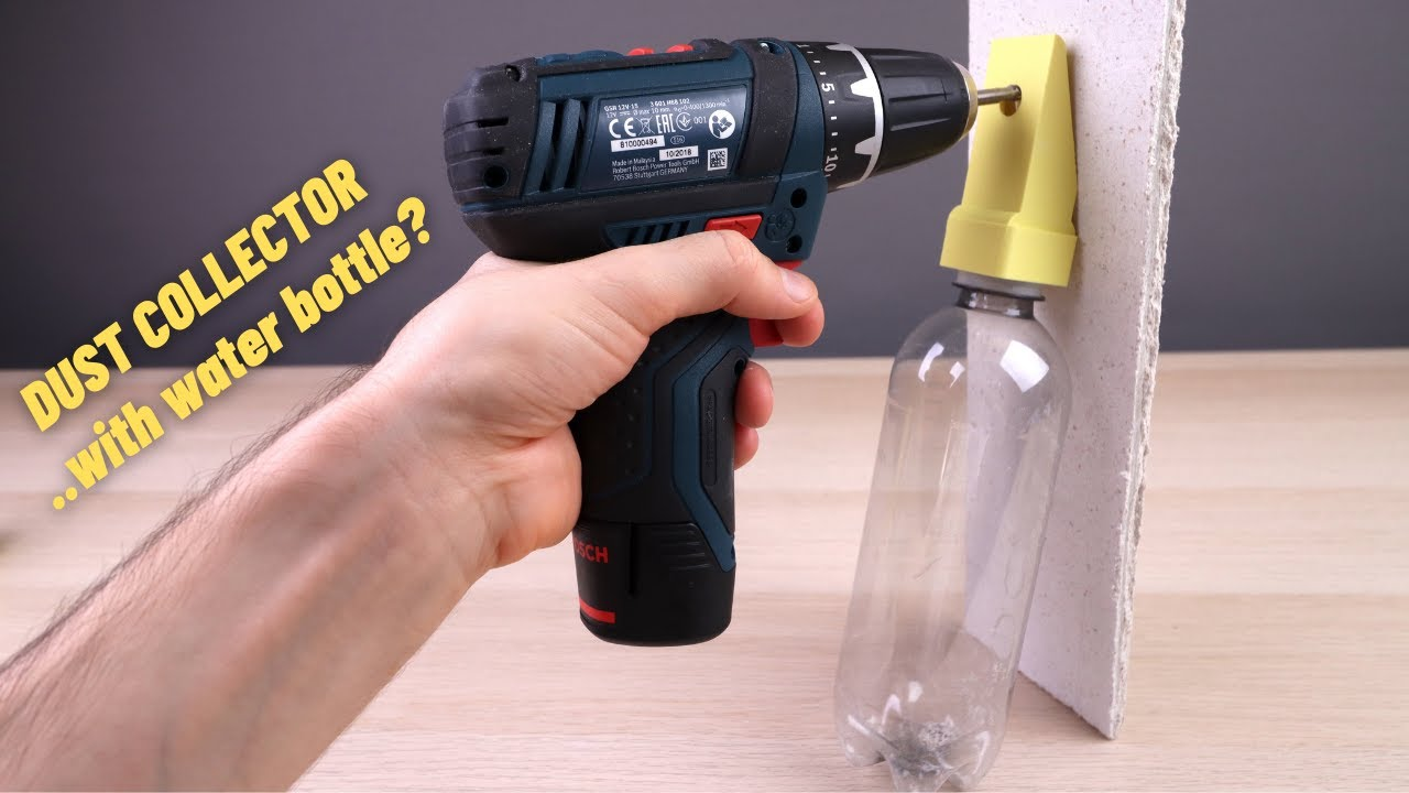 Download 3D Printed Wall Drilling Dust Collector (using a water bottle)