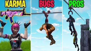 LOL THESE ZIPLINE BUGS! KARMA vs BUGS vs PROS! Fortnite Funny Moments Battle Royale
