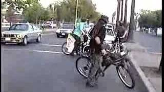 Car Runs over bicycle At Critical Mass ride