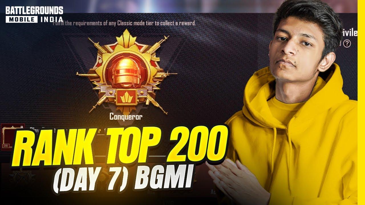 😤 Rank Top 200 (Day 7) Conqueror C1S1 BGMI - Legend X
