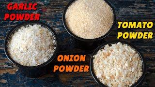 लहसुन,प्याज और टमाटर का पाउडर घर पर बनाने का आसान तरीका Ginger Powder | Garlic Powder | Onion Powder