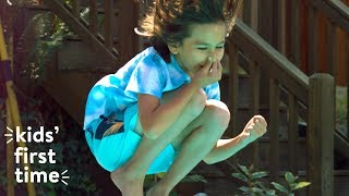 Kids Jump Off a Diving Board for the First Time   Kids First Time   HiHo Kids