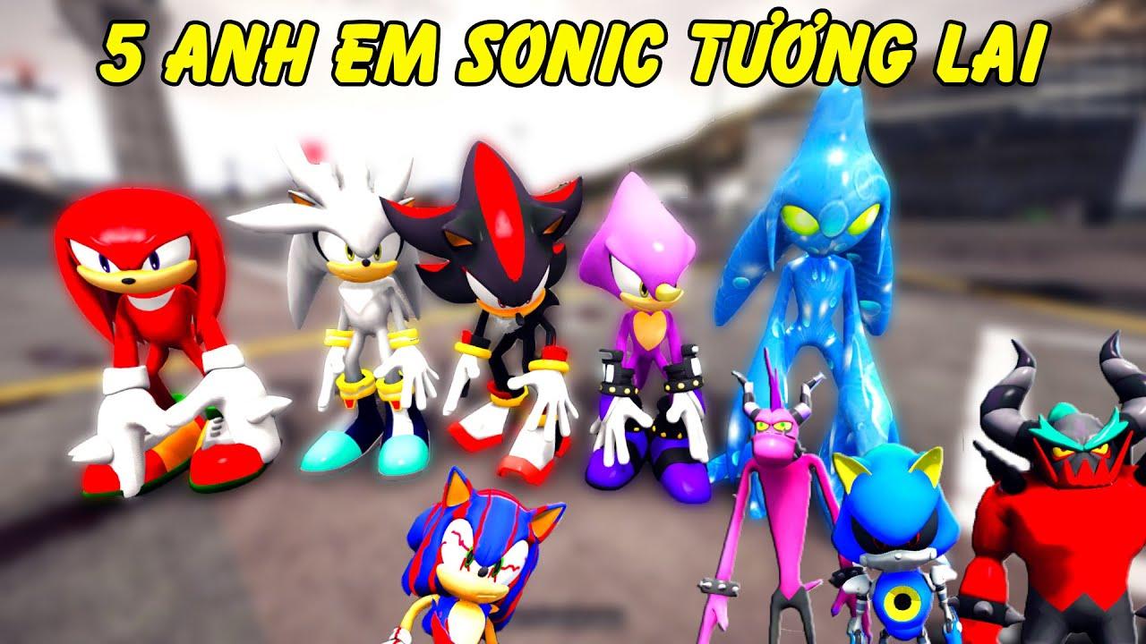 GTA 5 - 5 anh em cảnh sát nhím Sonic tương lai bắt siêu tội phạm không gian | GHTG