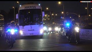 4k arrivo autobus della juventus allo wanda metropolitano atltico juventus 2019