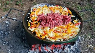 Make Camping Grill from 55 gal Drum &amp Best Philly Cheese Steak Sand Which EVER.
