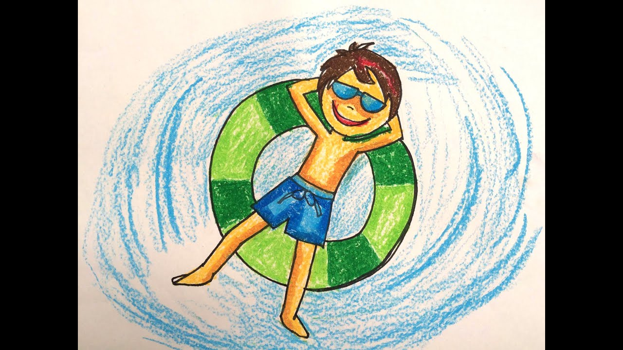 Painting summer for kids how to draw swimming pool fun 2 for Swimming pool drawing