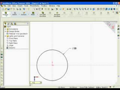 SolidWorks Lesson Circle Cylinder for Glass Test Tube