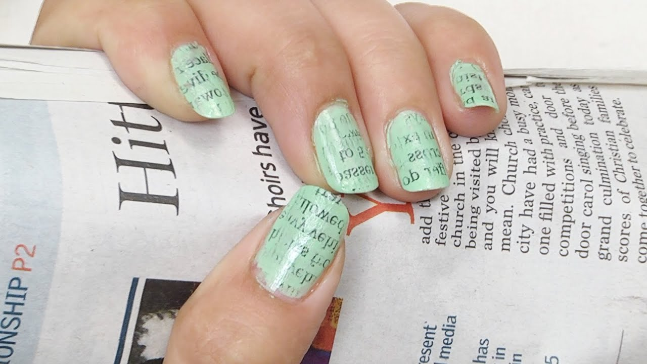 Appealing Newspaper Nail Art To Beautify Your Nails - YouTube